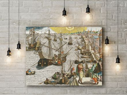 Bry: Departure from Lisbon for Brazil, the East Indies and America Fine Art Canvas.